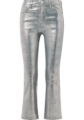 J Brand - Selena Cropped Metallic Snake-effect Leather Flared Pants - Silver