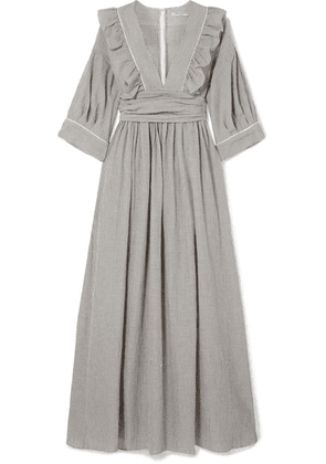 Three Graces London - Adeline Striped Cotton-blend Maxi Dress - Charcoal