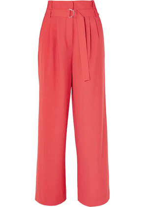 Tibi - Stella Belted Tropical Wool Pants - Red