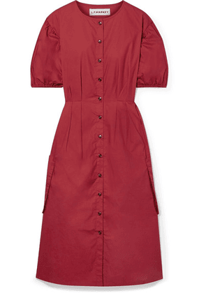 L.F.Markey - Oliver Pleated Cotton-poplin Midi Dress - Claret