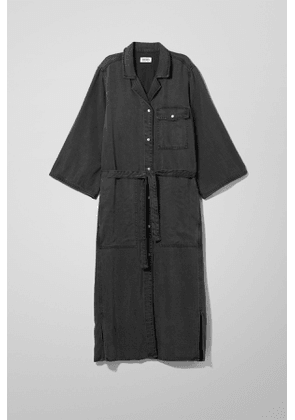 Bay Denim Shirt Dress - Black