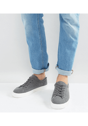 ASOS Wide Fit Lace Up Trainers In Grey Jersey Marl