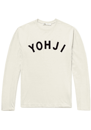 Y-3 - Logo-appliquéd Stretch Cotton-jersey T-shirt - Ecru