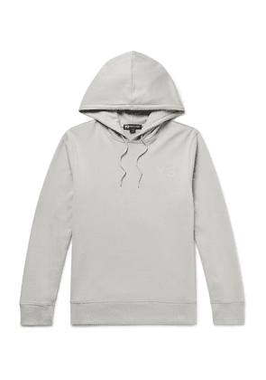 Y-3 - Logo-print Loopback Cotton-jersey Hoodie - Light gray