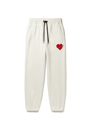 Palm Angels - Pin My Heart Appliquéd Loopback Cotton-jersey Sweatpants - White