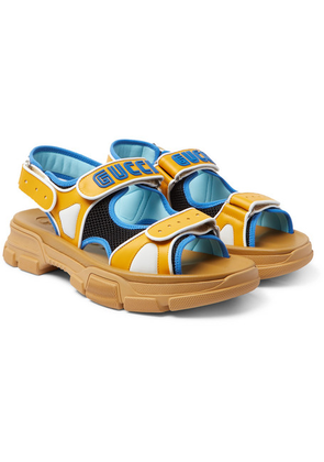 Gucci - Leather And Mesh Sandals - Yellow