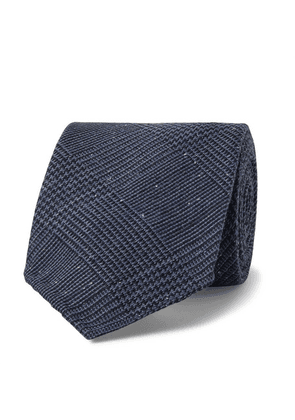 Drake's - 8cm Prince Of Wales Checked Silk And Wool-blend Tie - Navy