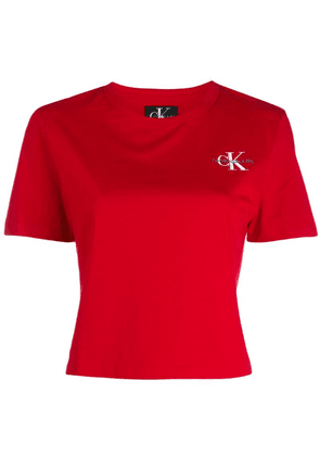 Calvin Klein Jeans embroidered logo cropped T-shirt