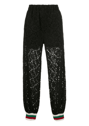 Gucci rebrodé flower lace track pants - Black