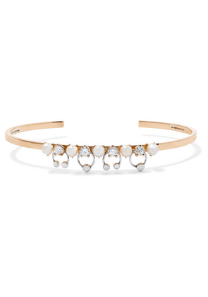 Delfina Delettrez - 18-karat Yellow And White Gold, Pearl And Diamond Cuff - one size