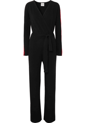 Madeleine Thompson - Thyone Striped Wrap-effect Cashmere All-in-one - Black