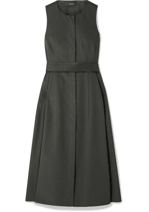 Akris - Belted Cotton Midi Dress - Dark green