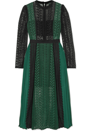 Self-Portrait - Two-tone Guipure Lace And Pleated Chiffon Midi Dress - Forest green