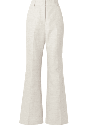 Rebecca Vallance - Maya Cotton And Linen-blend Wide-leg Pants - Light gray