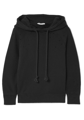 Helmut Lang - Distressed Cotton-jersey Hooded Top - Black