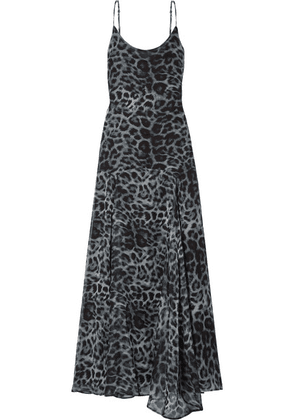 Eywasouls Malibu - Tracy Leopard-print Chiffon Maxi Dress - Black