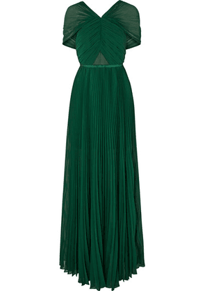 Self-Portrait - Pleated Grosgrain-trimmed Chiffon Maxi Dress - Forest green