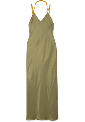 Helmut Lang - Rubberband Tulle-trimmed Satin Maxi Dress - Army green
