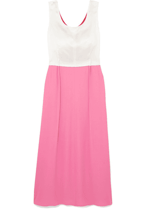 Marni - Colour-block Crepe And Satin Maxi Dress - Pink