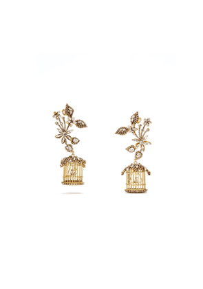 24k Swarovski Crystal Birdcage Earrings