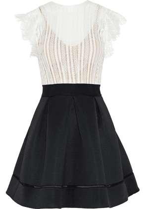 Catherine Deane Ina Lace And Pleated Neoprene Mini Dress Woman White Size 12