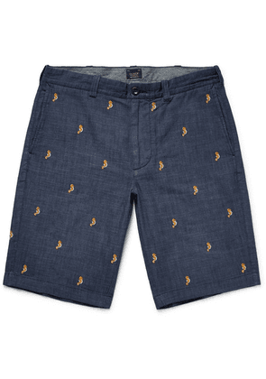 J.Crew - Embroidered Cotton-chambray Shorts - Blue