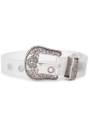 Diesel embossed hardware belt - White