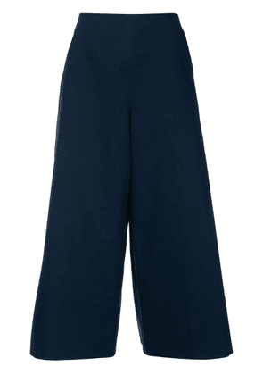 Delpozo pleated cropped trousers - Blue