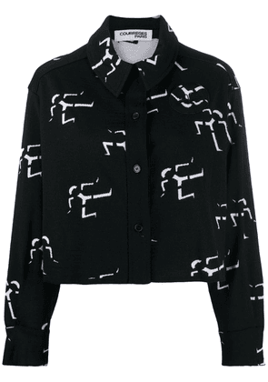 Courrèges geometric print shirt jacket - Black