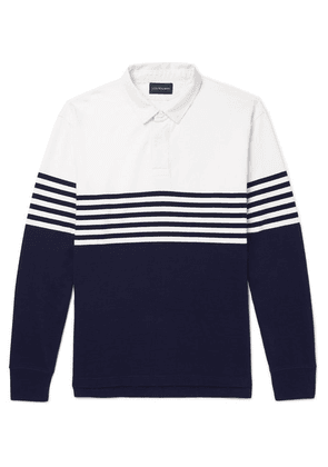J.Crew - Kyle Twill-trimmed Striped Cotton-jersey Polo Shirt - Navy