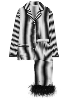 Sleeper - I'm Only Having One Drink Feather-trimmed Striped Crepe De Chine Pajama Set - Black