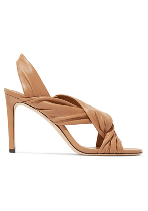 Jimmy Choo - Leila 85 Knotted Leather Slingback Sandals - Tan