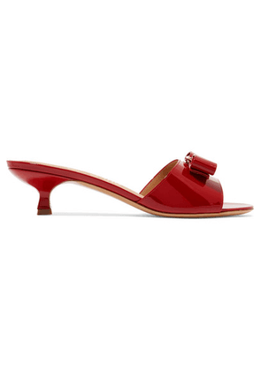 Salvatore Ferragamo - Ginostra Bow-embellished Patent-leather Mules - Red