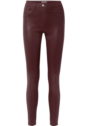 L'Agence - The Margot Coated High-rise Skinny Jeans - Burgundy