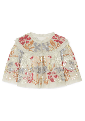 Needle & Thread - Deconstructed Cropped Ruffled Sequin-embellished Tulle Jacket - Mint