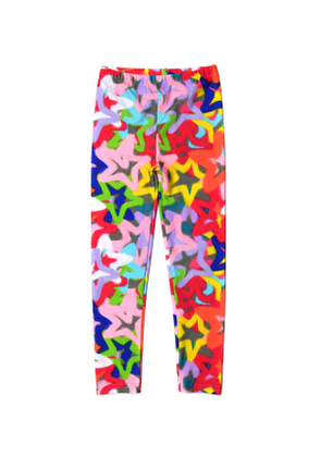 Girl's Spray Pain Stars Print Leggings, Size 2-14