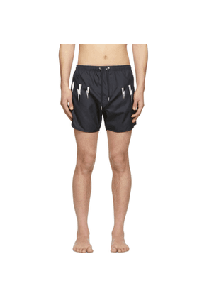 Neil Barrett Navy Lightning Bolt Wings Swim Shorts