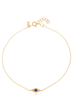 14kt Gold Diamond Evil Eye Anklet