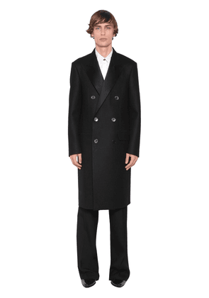 Double Breasted Raw Cut Wool Coat