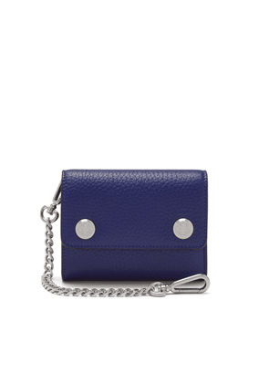 Mulberry Wallet on Chain in Cobalt Blue Heavy Grain