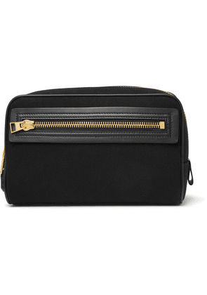 TOM FORD - Leather-trimmed Canvas Wash Bag - Black