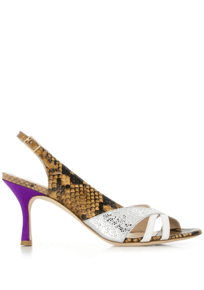 Gia Couture snakeskin print sandals - Brown
