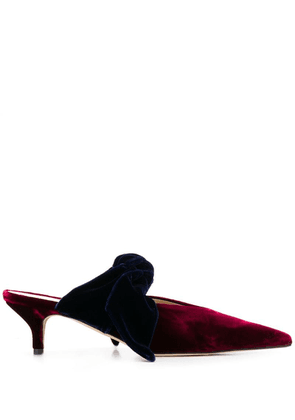 Gia Couture velvet bow heeled pumps - Red