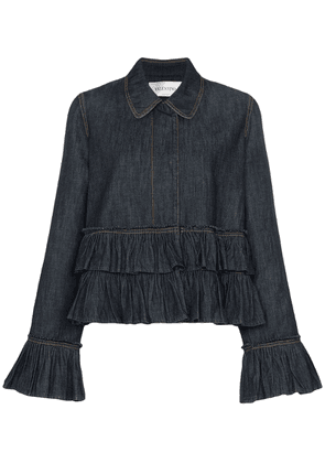 Valentino ruffle detail denim jacket - Blue