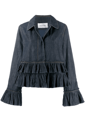 Valentino ruffle trim denim jacket - Blue