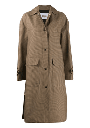 MSGM houndstooth single-breasted coat - Brown