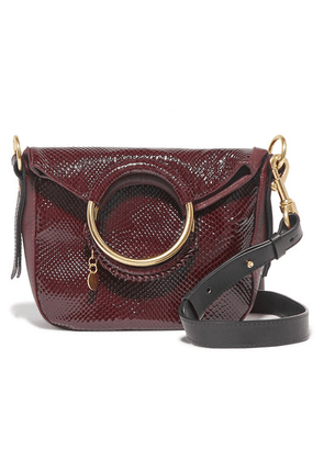 See By Chloé - Monroe Small Snake-effect Leather Tote - Burgundy