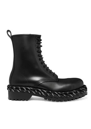 Balenciaga - Rope-trimmed Lace-up Leather Ankle Boots - Black