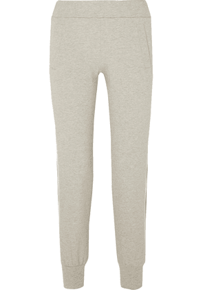 Norma Kamali - Cropped Striped Stretch-cotton Jersey Track Pants - Gray