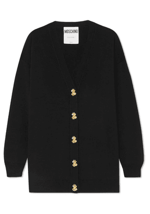 Moschino - Button-embellished Wool Cardigan - Black